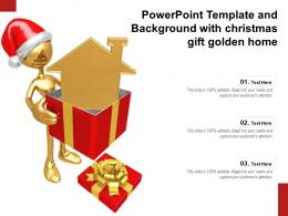 Powerpoint Template And Background With Christmas Gift Golden Home