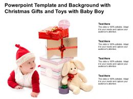 Powerpoint Template And Background With Christmas Gifts And Toys With Baby Boy