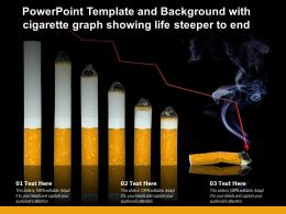 Powerpoint Template And Background With Cigarette Graph Showing Life Steeper To End