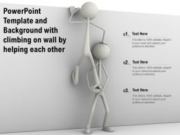 Powerpoint Template And Background With Climbing On Wall By Helping Each Other