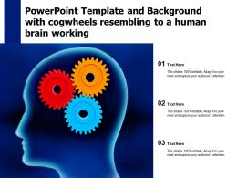 Powerpoint Template And Background With Cogwheels Resembling To A Human Brain Working