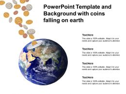 Powerpoint Template And Background With Coins Falling On Earth