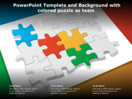 Powerpoint Template And Background With Colored Puzzle As Team