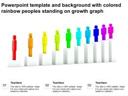 Powerpoint Template And Background With Colored Rainbow Peoples Standing On Growth Graph