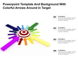 Powerpoint Template And Background With Colorful Arrows Around In Target