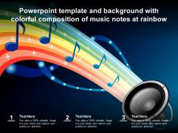 Powerpoint Template And Background With Colorful Composition Of Music Notes At Rainbow
