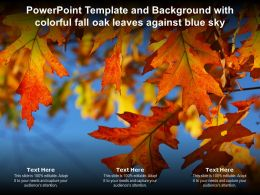 Powerpoint Template And Background With Colorful Fall Oak Leaves Against Blue Sky