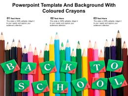 Powerpoint Template And Background With Coloured Crayons