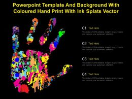 Powerpoint Template And Background With Coloured Hand Print With Ink Splats Vector