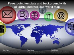 Powerpoint Template And Background With Colourful Internet Icon World Map