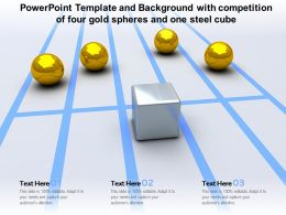 Powerpoint Template And Background With Competition Of Four Gold Spheres And One Steel Cube