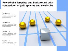 Powerpoint Template And Background With Competition Of Gold Spheres And Steel Cube