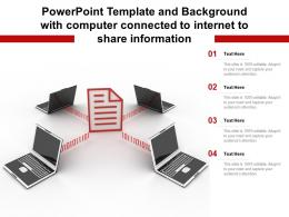 Powerpoint Template And Background With Computer Connected To Internet To Share Information