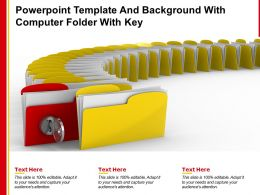 Powerpoint Template And Background With Computer Folder With Key