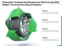 Powerpoint Template And Background With Concept With Rubber Tire And Green Recycle Symbol