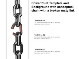 Powerpoint Template And Background With Conceptual Chain With A Broken Rusty Link