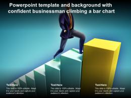 Powerpoint Template And Background With Confident Businessman Climbing A Bar Chart