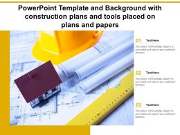 Powerpoint Template And Background With Construction Plans And Tools Placed On Plans And Papers