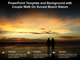 Powerpoint Template And Background With Couple Walk On Sunset Beach Nature