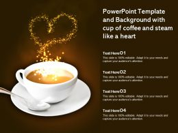 Powerpoint Template And Background With Cup Of Coffee And Steam Like A Heart
