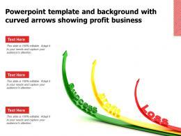 Powerpoint Template And Background With Curved Arrows Showing Profit Business