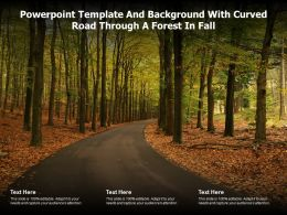 Powerpoint Template And Background With Curved Road Through A Forest In Fall