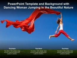 Powerpoint Template And Background With Dancing Woman Jumping In The Beautiful Nature