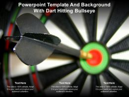 Powerpoint Template And Background With Dart Hitting Bullseye