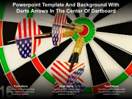 Powerpoint Template And Background With Darts Arrows In The Center Of Dartboard