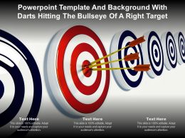 Powerpoint Template And Background With Darts Hitting The Bullseye Of A Right Target