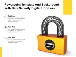 Powerpoint Template And Background With Data Security Digital USB Lock