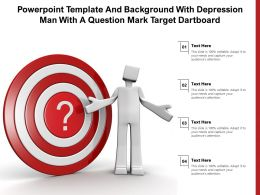 Powerpoint Template And Background With Depression Man With A Question Mark Target Dartboard