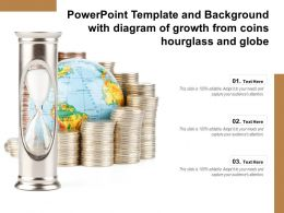 Powerpoint Template And Background With Diagram Of Growth From Coins Hourglass And Globe