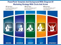 Powerpoint Template And Background With Diagram Of Marketing Strategy With Circle And Arrow