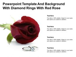 Powerpoint Template And Background With Diamond Rings With Red Rose