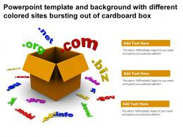 Powerpoint Template And Background With Different Colored Sites Bursting Out Of Cardboard Box