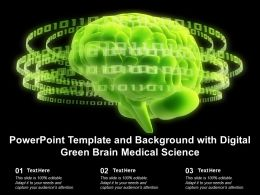 Powerpoint Template And Background With Digital Green Brain Medical Science