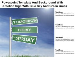 Powerpoint Template And Background With Direction Sign With Blue Sky And Green Grass