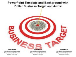 Powerpoint Template And Background With Dollar Business Target And Arrow