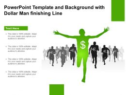 Powerpoint Template And Background With Dollar Man Finishing Line