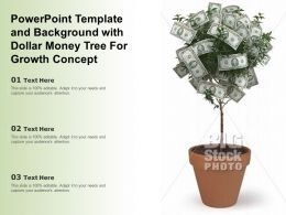 Powerpoint Template And Background With Dollar Money Tree For Growth Concept