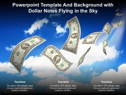 Powerpoint Template And Background With Dollar Notes Flying In The Sky