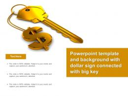 Powerpoint Template And Background With Dollar Sign Connected With Big Key