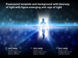 Powerpoint Template And Background With Doorway Of Light With Figure Emerging And Rays Of Light