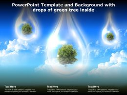 Powerpoint Template And Background With Drops Of Green Tree Inside