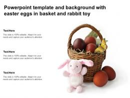 Powerpoint Template And Background With Easter Eggs In Basket And Rabbit Toy