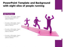 Powerpoint Template And Background With Eight Silos Of People Running