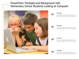 Powerpoint Template And Background With Elementary School Students Looking At Computer