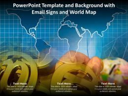 Powerpoint Template And Background With Email Signs And World Map