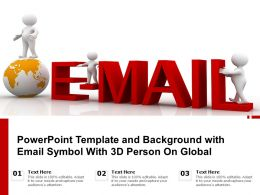 Powerpoint Template And Background With Email Symbol With 3D Person On Global